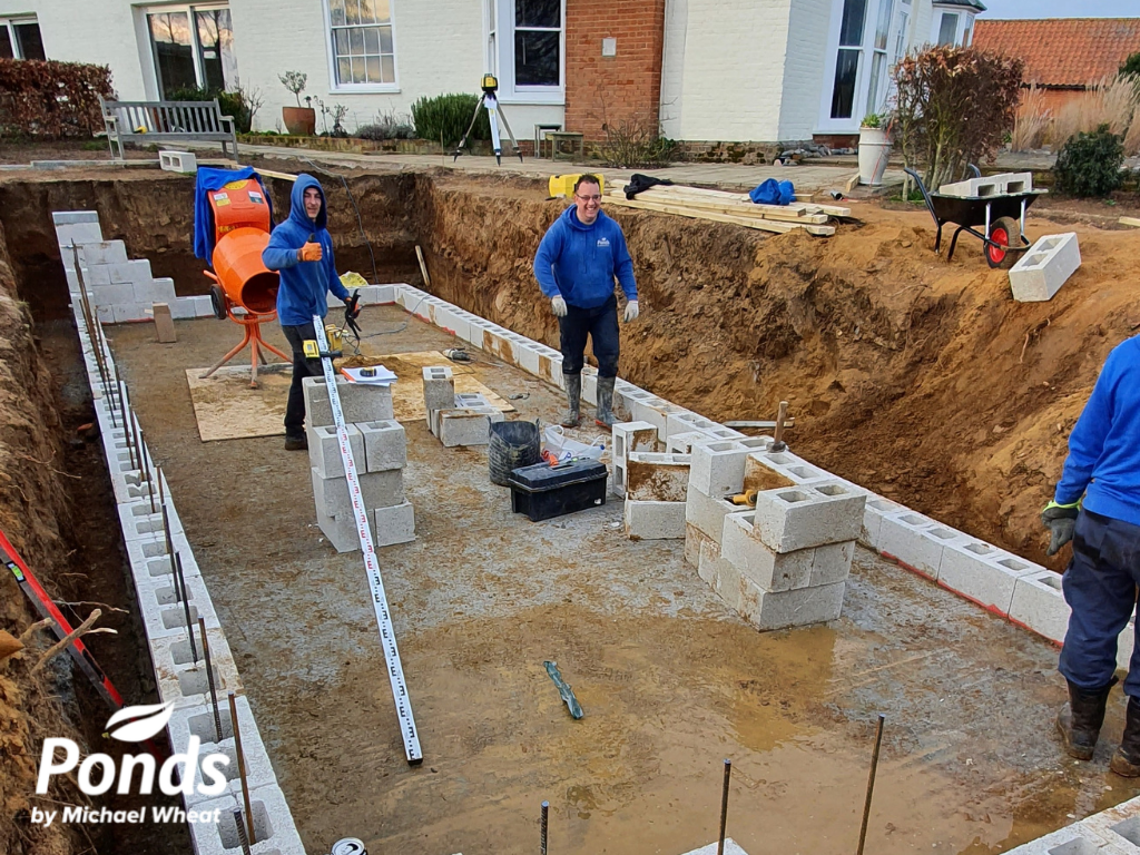 Swimpond Project - Suffolk - Retaining Walls Being Erected
