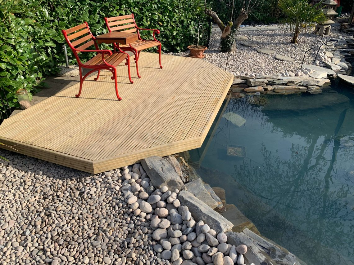 Fish pond with chairs