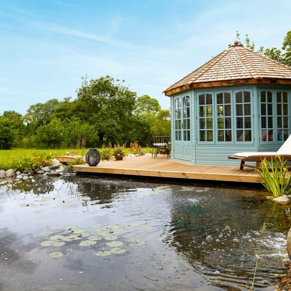 wildlife pond with shed