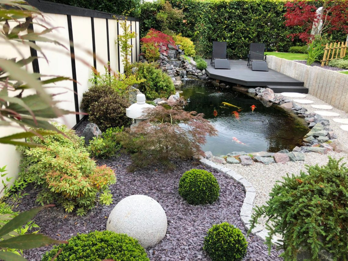 Koi pond with deck