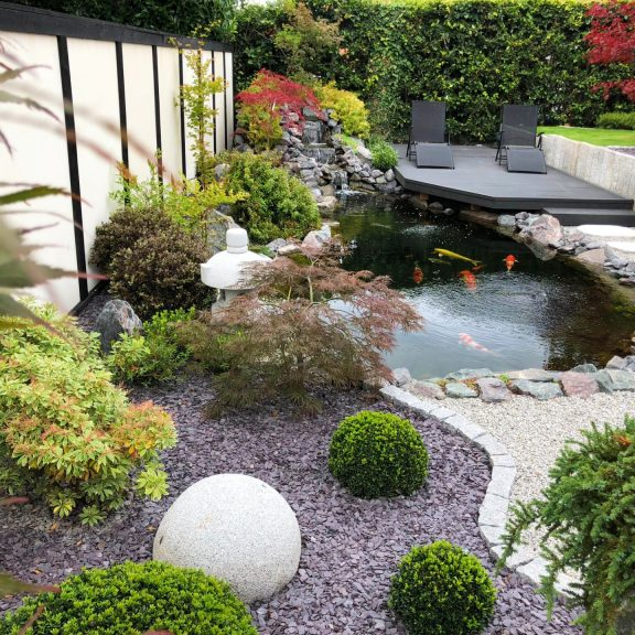 Koi pond with deck