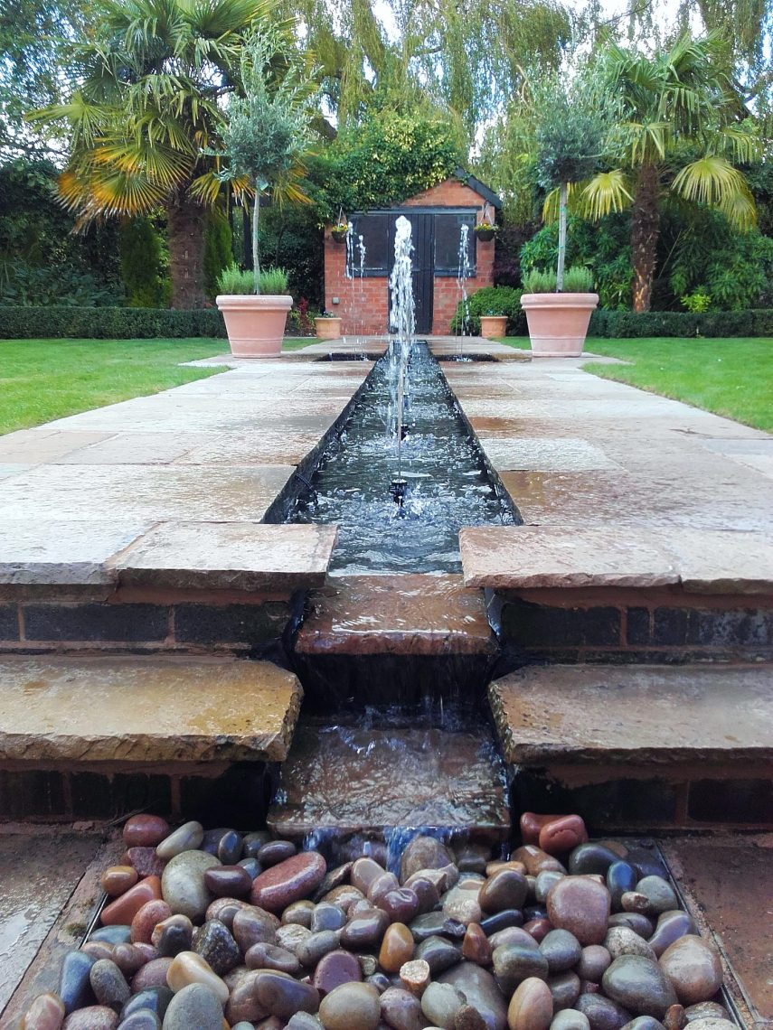 Pond with a water feature